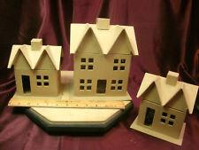 "3 Vtg CHRISTMAS/Railroad/TRAIN VILLAGE CARDBOARD HOUSES-unpainted-6""-8.5""H-F/Shi"