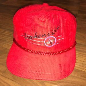 Vtg 80s SKI Cap BRECKENRIDGE Colorado Resort CORDUROY Cord Gaper apres Hat RED