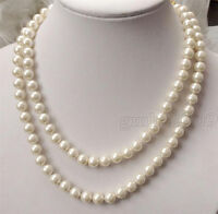 "AAA Charming Genuine 8mm Round White South Sea Shell Pearl Necklace 36""Long"