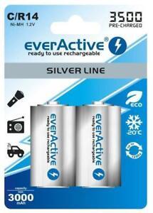 4 x everActive Silverline Baby min. 3000 mAh Akku C Baby Zelle LR14 MN1400 NIMH