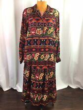 Vtg Susan Bristol Womens Skirt Blouse Set Aztec Floral Button Front Maxi Size 16