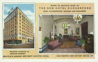 Hotel Hungerford Interior View 4th Avenue Seattle Washington 1927 Postcard