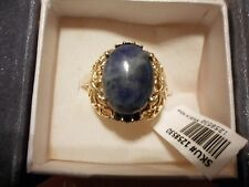 Sodalite Oval Solitaire w/Lab Created Blue Sapphires in 18K YG Overlay-Size 7