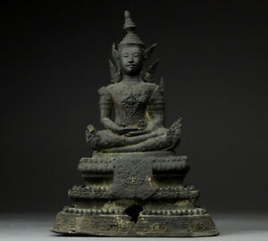 Antique Bronze Buddha Statue 12 Possibly from Thailand