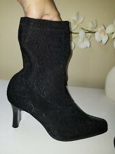 Newport News Easy Style Black Textured Stretch Sock Boots High Heel Sz.8M