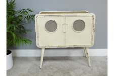 71cm Rustic Cream Distressed Quirky Industrial Style Retro Metal Cabinet