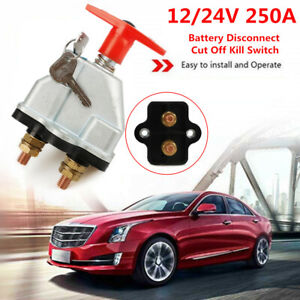 250A Battery Isolator Disconnect Cut Off On/Off Kill Switch Key Car Marine Boat
