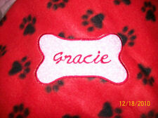 Pet Dog Cat Fleece Blanket Personalized Handcrafted 36x30 in med red paw print