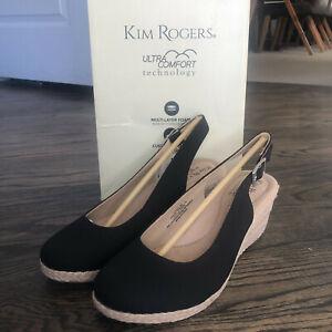 Kim Rogers Ultra Comfort Black Dyann Wedge Heel Espadrilles Sandals Size 9M NIB
