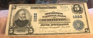 Burlington  , New Jersey, Mechanics   National bank , $5. 1902 PB, F/ VF