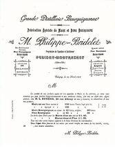 Rare et beau buvard Philippe-Bridelet (vins à Puligny Montrachet); fin XIXè ! !
