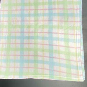Vintage Gerber Pastel Plaid Baby Blanket Fleece Microfiber Blue Green Pink