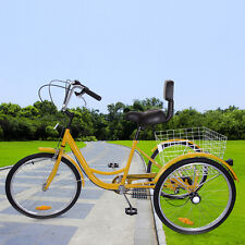 "24"" 3 Wheel Adult 6-speed Shifter Tricycle Bicycle Trike W/Basket Yellow"