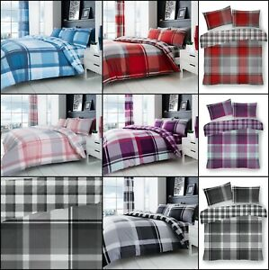 Waverley Check Printed Complete Set Duvet Cover With Pillow Cases Fitted Sheet