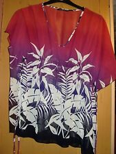 Size 14 ladies batwing style top in pinky/reddy/purple
