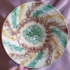 Jatte XIXème en céramique vernissée polychrome Vert Jaune Marron Beige - Rare