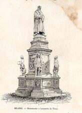 Stampa antica MILANO monumento a Leonardo da Vinci Piazza Scala 1892 Old print