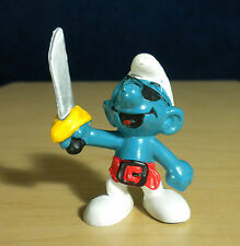 Smurfs Pirate Smurf Eye Patch Sword Vintage Figurine PVC Toy Peyo Figure 20104