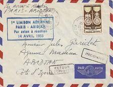 LETTRE PAR AVION - 1ere LIAISON AERIENNE PARIS ABIDJAN COTE D'IVOIRE 1953