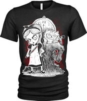 Alice in Wonderland T-Shirt Womens Ladies Goth punk rock emo fantasy