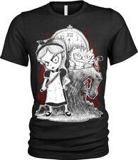 Alice in Wonderland T-Shirt Womens Ladies Goth punk rock emo fantasy