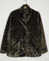 VELVET Garnet Hill Leopard Faux Fur Coat Jacket Womens Sz Small EUC