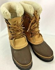 WOMENS SOREL WINTER BOOTS LEATHER WOOL LINED SIZE 7 BROWN TAN