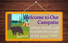 """607Hs Bear Welcome Campsite Friends Toasted 5""""x10"""" Aluminum Hanging Novelty Sign"""