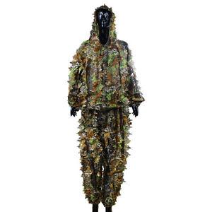 3D Ghillie Suit woodland Tarnanzug Camouflage Camo Kleidung Jagd DHL