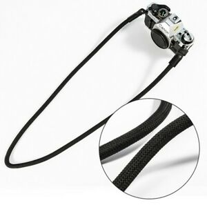 100cm Shoulder Neck Camera Leather Strap Climbing Sling Flexible Cord Black Rope