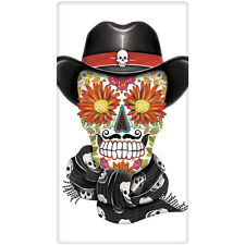 Day of the Dead Cowboy Decorative  FlourSack Towel-By Mary Lake Thompson