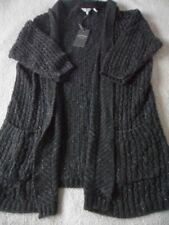EX Fat Face Hepburn Black Marl Medium Knit Acrylic Blend Open Cardigan 6 - 18 8