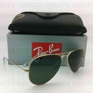 RayBan Aviator Sunglasses Gold Frame Green Classic G-15 Lens RB3025 L0205 58mm