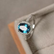 Vintage Style Oval 2CT London Blue Topaz & Diamond Ring Wedding FREE SHIPPING