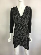 TBAGS 3/4 Sleeve V-Neck Twisted Front Mini Stretch Jersey Dress Black XS $215 B3