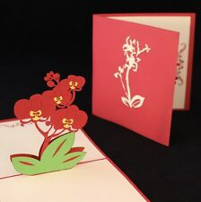 POP UP 3D card - flower/plant orchid (anniversary, blank, Mother's Day)