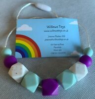 Teething Necklace Nursing Sensory Silicone Jewellery BPA Free Purple Green White