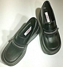 Candies Womens Chunky Black Platform Zip Loafers - Size 9 Vintage 1990's