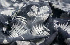 """Gray Linen Leaves Print 60""""W Fabric BTY Dress Blouse Tablecloth Craft Scarves"""