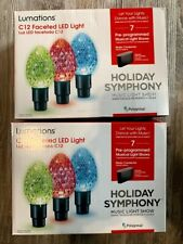 2 boxes Lumations Holiday Symphony C12 Faceted LED Light Music Light Show