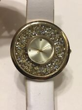 Chico's Watch White Leather Band Gold Rhinestone Runs