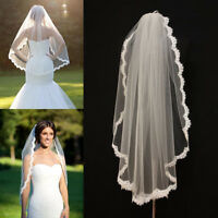 Charming White/Ivory Wedding Veils One-tier Fingertip Veils Lace Edge With Comb