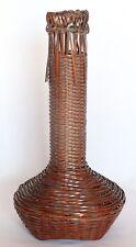"""Japanese Bamboo Cesto Vaso di fiori intrecciato marrone collo Gru 29cm 11.41"""" vintage"""