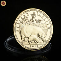 WR 2014 Zambia African Wildlife Hippo GOLD Coin Mint 10000 Kwacha Collectibles