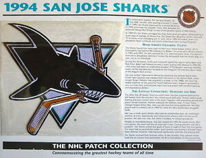 1994 SAN JOSE SHARKS ~ Willabee & Ward NHL THROWBACK HOCKEY TEAM PATCH Stat Card