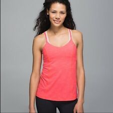 Lululemon NWT Run For Gold Tank Top Heathered Electric Coral Yoga Shirt Size 4
