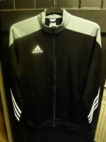 ADIDAS BLACK & GREY SPORT TRACK SUIT TOP WITH ZIPPED POCKETS ADULT MEDIUM SIZE