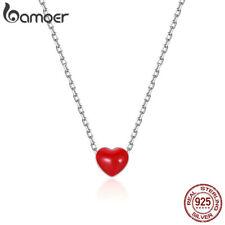 Bamoer .925 Sterling silver CZ Necklace Enamel flipped heart For Women Jewelry
