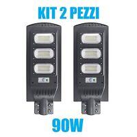 KIT 2 PEZZI LAMPIONE STRADALE LED 90 W PANNELLO SOLARE FOTOVOLTAICO JD1940 CON T