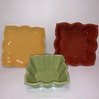 "Lot of 3 Chantal Talavera Collections Bakeware Butter Dish Square 7"" & 5.5"""